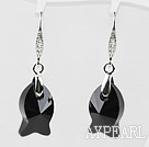 18mm Fish Shape Black Austrian Crystal Earrings