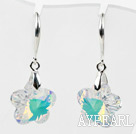 18mm Flower Shape White with Colorful Austrian Crystal Earrings