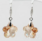18mm Flower Shape Golden Champagne Color Austrian Crystal Earrings