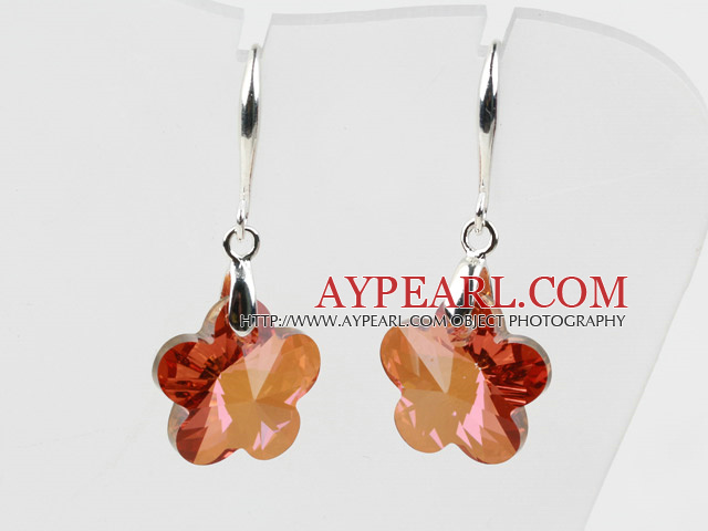18mm Flower Shape Amber Color Austrian Crystal Earrings