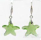 Wholesale 22mm Star Shape Light Green Austrian Crystal Earrings