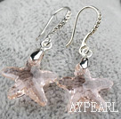 22mm Star Shape Baby Pink Austrian Crystal Earrings