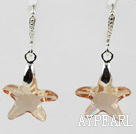 22mm Star Shape Champagne Color Austrian Crystal Earrings