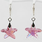 22mm Star Shape Pink with Colorful Austrian Crystal Earrings