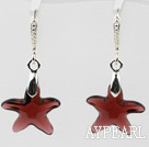 16mm Star Shape Purple Red Color Austrian Crystal Earrings