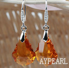 16mm Amber Color Baroque Austrian Crystal Earrings