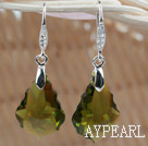 22mm Olive Color Baroque Austrian Crystal Earrings