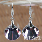 16mm Purple with Colorful Scallops Shape Austrian Crystal Earrings