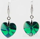 18mm Heart Shape Dark Green Austrian Crystal Earrings