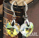 14mm Heart Shape White with Colorful Austrian Crystal Earrings