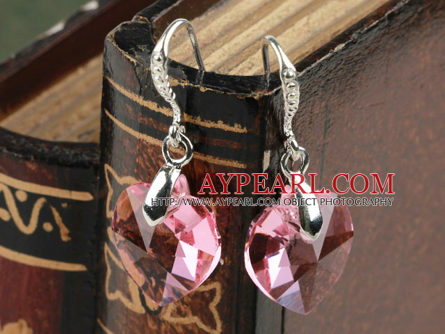 14mm Heart Shape Pink Austrian Crystal Earrings