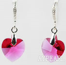 14mm Heart Shape Purple Red Austrian Crystal Earrings