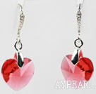 14mm Heart Shape Red Austrian Crystal Earrings
