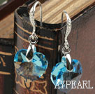 14mm Heart Shape Blue Sky Color Austrian Crystal Earrings