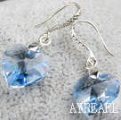 14mm Heart Shape Light Blue Austrian Crystal Earrings