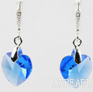 14mm Heart Shape Dark Blue Austrian Crystal Earrings