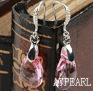 16mm Pink Color Teardrop Shape Austrian Crystal Earrings