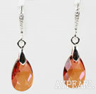16mm Amber Color Teardrop Shape Austrian Crystal Earrings