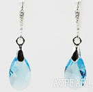 16mm Sky Blue Color Teardrop Shape Austrian Crystal Earrings