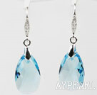 22mm Light Blue Color Teardrop Shape Austrian Crystal Earrings