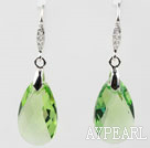 22mm Apple Green Color Teardrop Shape Austrian Crystal Earrings