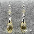 Classic Design Dangle Style Yellow Faceted Austrian Crystal Drop Shape Earrings
