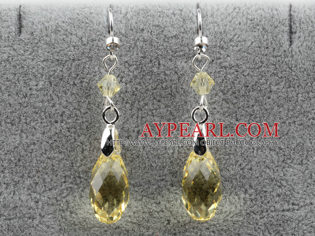 Classic Design Dangle Style Keltainen Faceted Itävallan kristalli pisara korvakorut