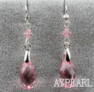 Classic Design Dangle Style Pink Faceted Austrian Crystal Drop Shape Earrings