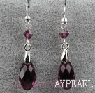 Classic Design Dangle Style Purple Red Faceted Austrian Crystal Drop Shape Earrings