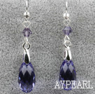 Classic Design Dangle Style Purple Faceted Itävallan kristalli pisara korvakorut