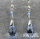 Wholesale Dangle Style 16mm Blue Faceted Austrian Crystal Earrings