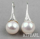Classic Design White Freshwater Pearl Earrings