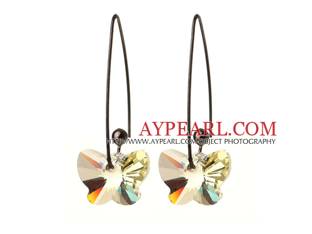 2014 Summer New Design Butterfly Shape Clear Yellow Austrian Crystal Earrings With Long Hook