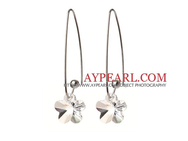 2014 Summer New Design Wintersweet Flower Shape Clear Austrian Crystal Earrings With Long Hook