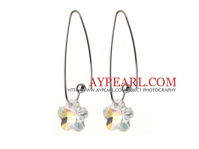 2014 Summer New Design Wintersweet Flower Shape AB Color Austrian Crystal Earrings With Long Hook