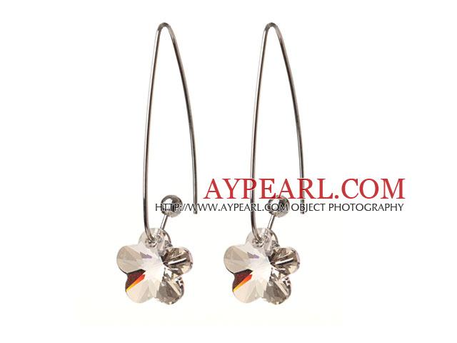 2014 Summer New Design Gray Color Wintersweet Flower Shape Austrian Crystal Earrings With Long Hook