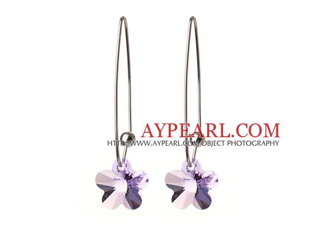 2014 Summer New Design Small Wintersweet Flower Shape Clear Purple Austrian Crystal Earrings With Long Hook