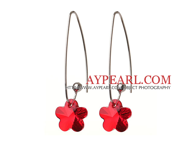 2014 Summer New Design Small Wintersweet Flower Shape Clear Red Austrian Crystal Earrings With Long Hook