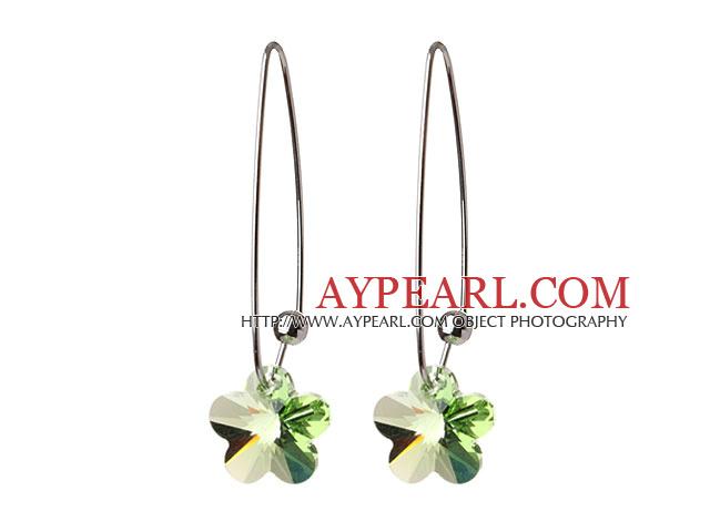 2014 Summer New Design Small Wintersweet Flower Shape Clear Green Austrian Crystal Earrings With Long Hook