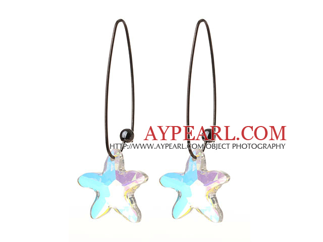 2014 Summer New Design Sea Star Shape AB Color Austrian Crystal Earrings With Long Hook