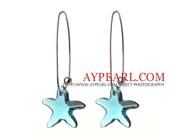 2014 Summer New Design Sea Star Shape Clear Blue Austrian Crystal Earrings With Long Hook