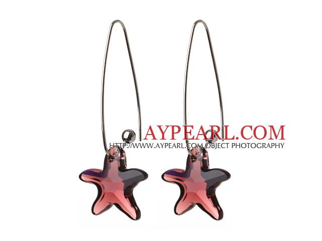 2014 Summer New Design Sea Star Shape Wine Red Austrian Crystal Earrings With Long Hook