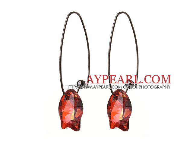 2014 Summer New Design Cute Fish Shape Red Austrian Crystal Earrings With Long Hook