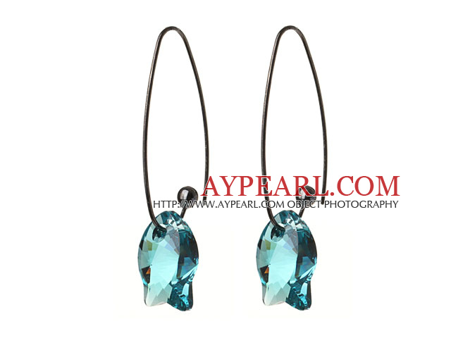 2014 Summer New Design Cute Fish Shape Clear Blue Austrian Crystal Earrings With Long Hook