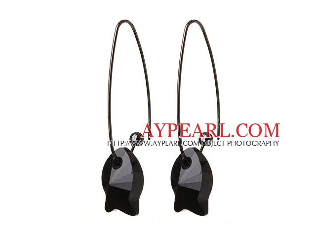 2014 Summer New Design Cute Fish Shape Black Austrian Crystal Earrings With Long Hook