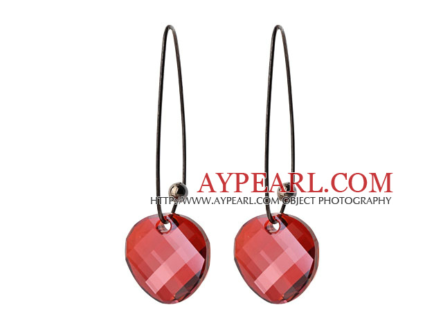 2014 Summer Design Potato Chips Shape Red Austrian Crystal Earrings With Long Hook