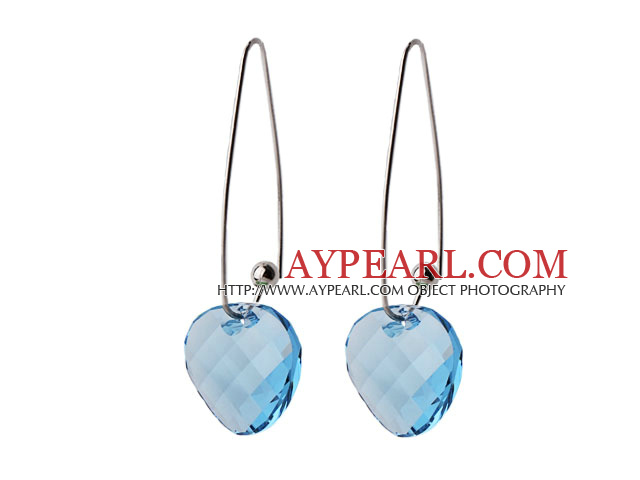 2014 Summer Design Potato Chips Shape Clear Blue Austrian Crystal Earrings With Long Hook
