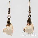 Vintage Style Heart Shape Champagne Austrian Crystal Earrings