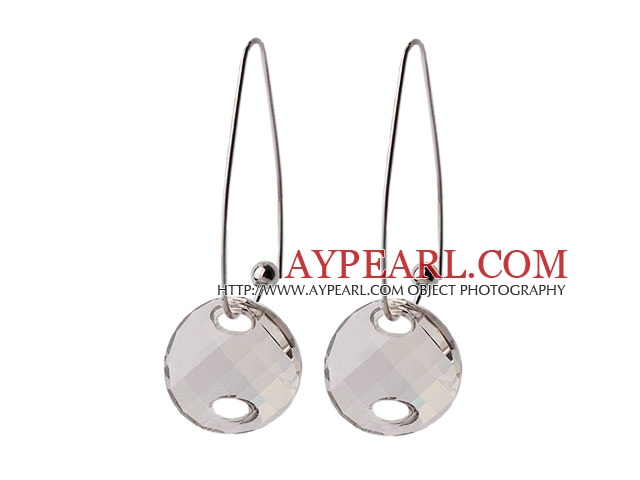 2014 Summer Design Potato Chips Shape Clear Gray Austrian Crystal Earrings With Long Hook