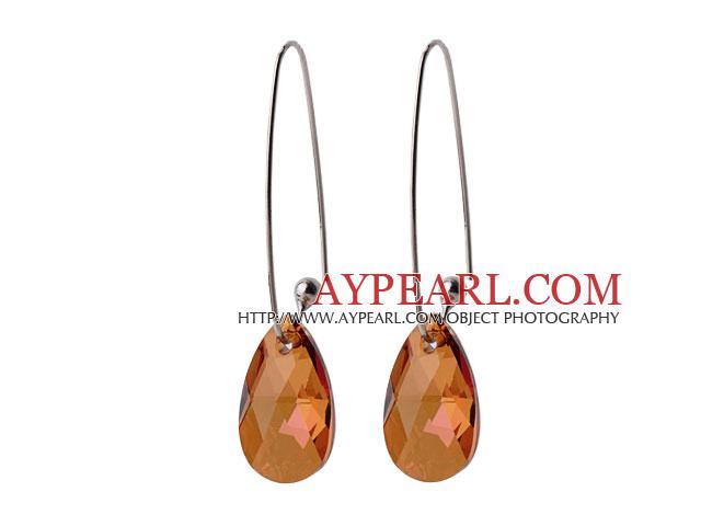 2014 Summer Design Angel Tear Shape Champagne Austrian Crystal Earrings With Long Hook